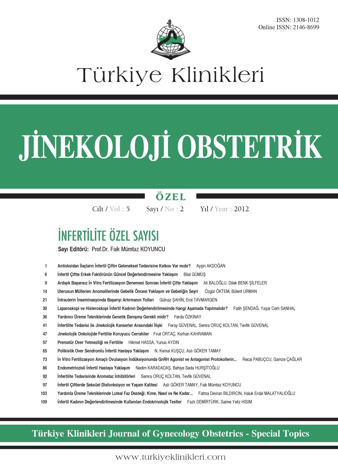 Klinikleri jinekoloji obstetrik özel dergisi 2012 cilt 5 sayı 2