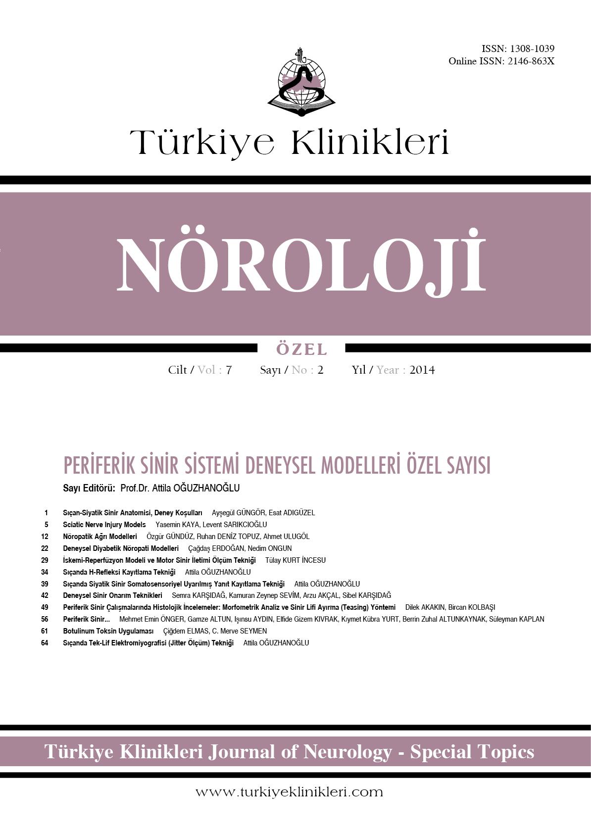 Türkiye klinikleri nöroloji özel dergisi sayı arşivi