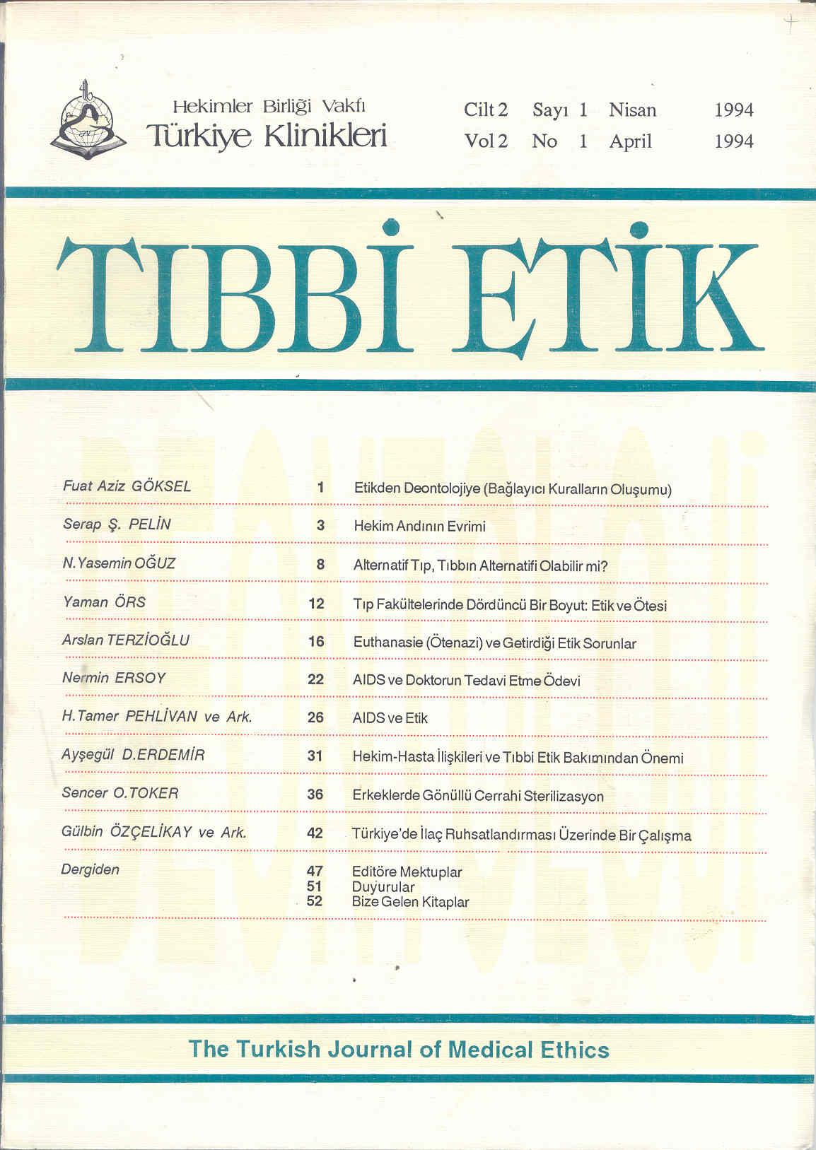 Klinikleri tıp etiği hukuku tarihi dergisi 1994 cilt 2 sayı 1